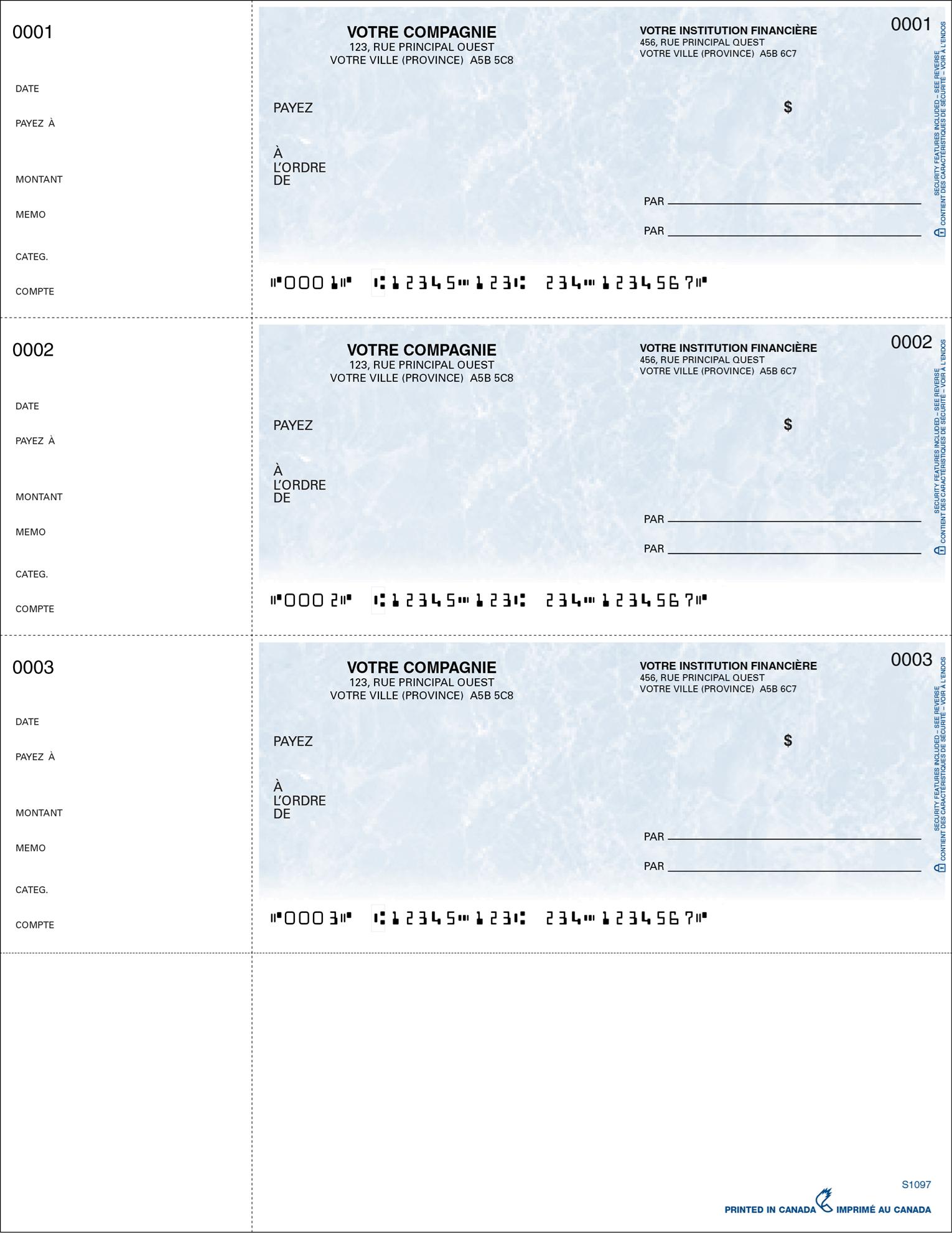 Chèque format portefeuille